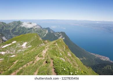 Lake Geneva seen from le Grammont mountain (Switzerland)