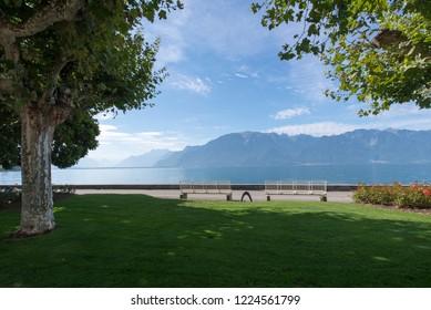 Lake Geneva seen from the Quai Perdonnet in Vevey, Switzerland