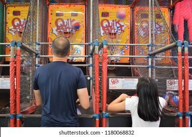 Lake George, NY/ USA- 9-02-18: Arcade Games Amusement Park Family Fun and Entertainment Sports Games