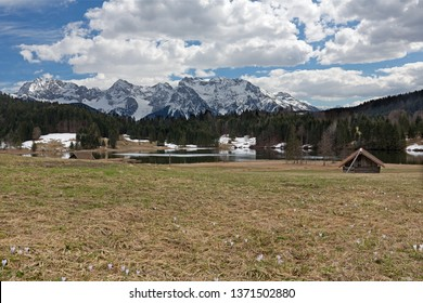 Lake Geroldsee (Wagenbruechsee) in springtime with view to the Karwendel mountains