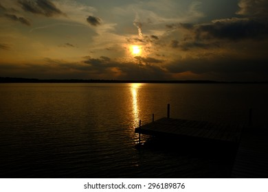 The lake at the golden hour of the setting sun