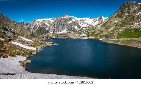 Lake Great St Bernard Pass, Border Italy, Switzerland.