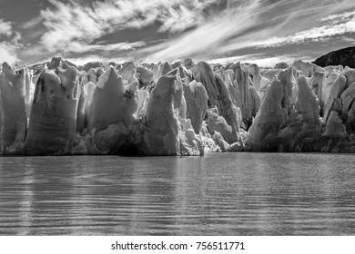 Lake Grey Glacier Patagonia Argentina Dramatic Black and White