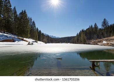 Lake Grubsee in Bavaria, Germany, in spring