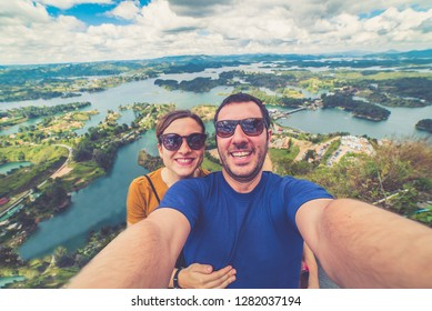 The Lake of Guatape from Rock of Guatape (Piedra Del Penol) in Medellin, Colombia - Immagine