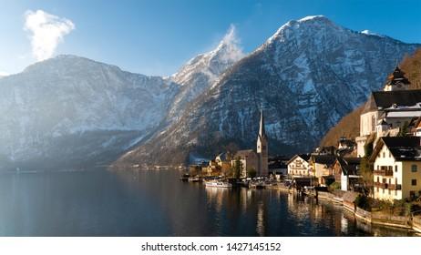 Lake Hallstatt, Austria. Hallstatt village in Alps mountains. UNESCO world heritage site