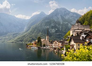 Lake Hallstatt, Austria. Hallstatt village on the bank of Hallstatter lake in High Alps mountains.