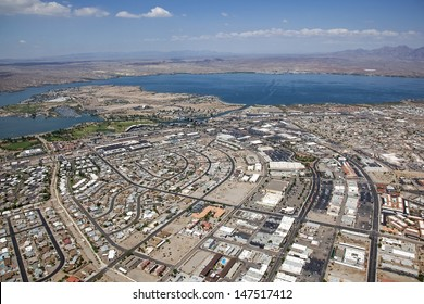 Lake Havasu, Arizona with an aerial view of the city center, marina and the London Bridge