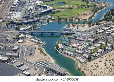 Lake Havasu, Arizona with an aerial view of the city center and the London Bridge