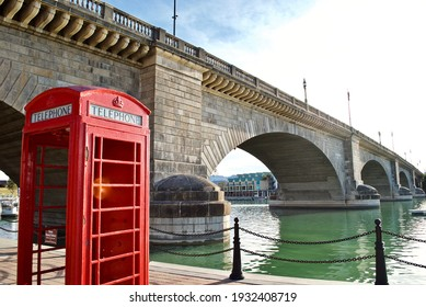 Lake Havasu City, Arizona: An iconic English red phone booth and the London Bridge. The bridge was purchased from London and reconstructed in Arizona in 1971 to bring tourism to the area.