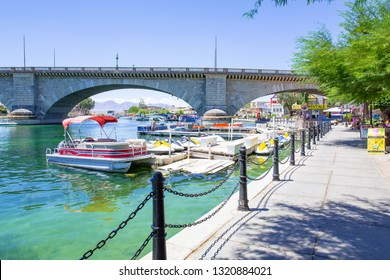 Lake Havasu City with the old London Bridge in Arizona, USA, 08-19-2018