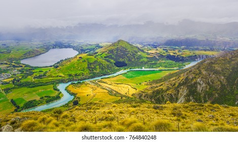 Lake Hayes and Kawarau river viewed from the Remarkables ski area, Otago, South Island, New Zealand.