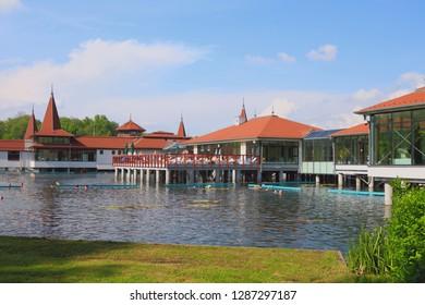 Lake Heviz, Hungary - Apr 29, 2014: Popular balneal resort