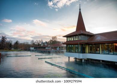 Lake Heviz natural warm water thermal bath in Hungary