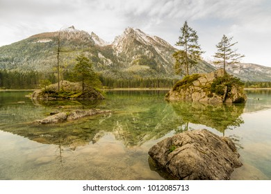 Lake Hintersee and mountain Hochkalter in the Alps of Bavaria on a beautiful day in spring