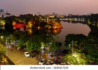 The Lake Hoan Kiem in the city of Hanoi in Vietnam, 25. November 2019