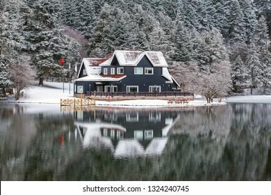 Lake house in Abant Lake wintertime. Abant, Bolu - Turkey