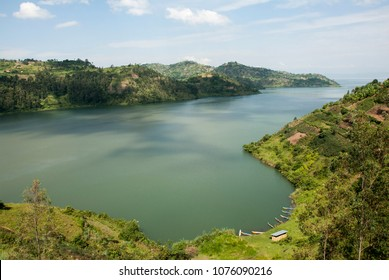 Lake house on the archipelago near lake Kivu. Rwanda, Africa