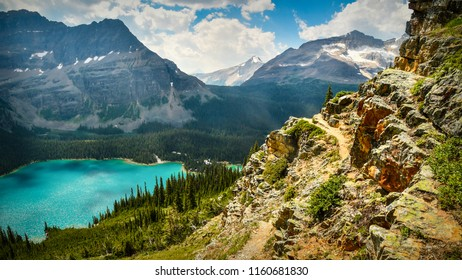 Lake O'Hara from the Huber Ledges hiking trail in Yoho National Park, British Columbia, Canada
