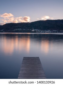lake impressions from wörthersee in carinthia in sunset