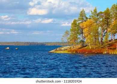 Lake Inari in beautiful autumn day in Finland.