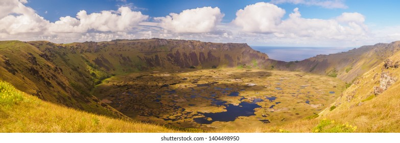 Lake inside the crater of volcano Rano Kao on Easter Island. Chile