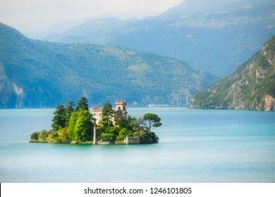 Lake Iseo with Loreto Island (Isola di Loreto) and Castello della Isola di Loreto, Italy