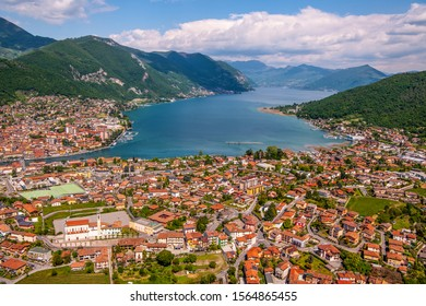 Lake Iseo or Sebino is a lake basin in northen Italy, located in Lombardy, on the Alpine foothills. you can see the villages of Sarnico and Paratico at the exit of the Oglio river from Lake Iseo.