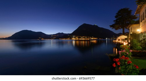 Lake Iseo at sunset, view of Monte Isola from Sulzano's shore - 09/01/2014