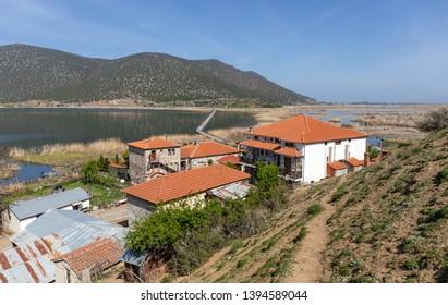 The lake island of Agios Achillios in Small Prespa lake, Macedonia, Greece.