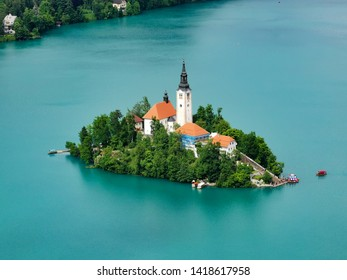 Lake with island in slovenia