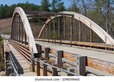 LAKE JAMES STATE PARK, NC, USA-12 APRIL 18: Wooden laminated truss bridge.