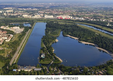 Lake Jarun, a popular recreational place in Zagreb, Croatia. Aerial view.