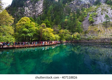Lake at Jiuzhaigou Valley was recognize by UNESCO as a World Heritage Site and a World Biosphere Reserve - China