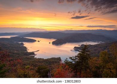 Lake Jocassee Autumn Scenic Upstate South Carolina Mountains