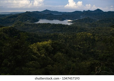 Lake Kalibiru surrounded by forests