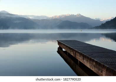 Lake Kaniere and Wooden Jetty at Dawn, Westcoat, New Zealand