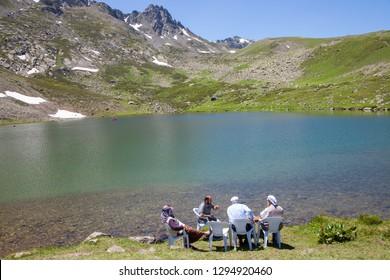 Lake Karagol, Bayburt, Turkey: 07/14/2016: Family picnic by the lake. Bayburt, Turkey.