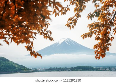 Lake Kawaguchi and Foji mountain in Japan