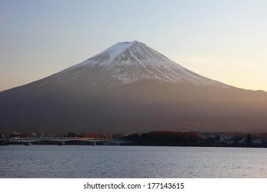 Lake Kawaguchi and Mount Fuji sunset