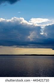 Lake Kenozero .Evening storm over the water. Arkhangelsk region, Russia
