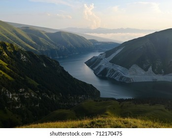 The lake Kezenoy-Am at sunset time, The Caucasus Mountains, Chechen Republic ( Chechnya), Russia.