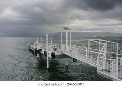Lake Kinneret in a cold and rainy winter day, Tiberias, Galilee, Israel
