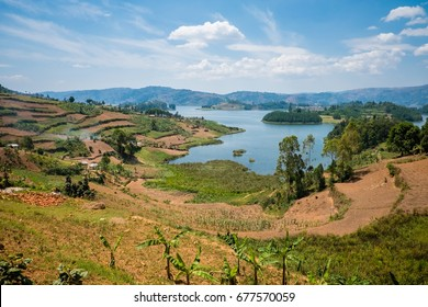 Lake Kivu scenic landscape view in north Rwanda close to Democratic Republic Congo and Uganda