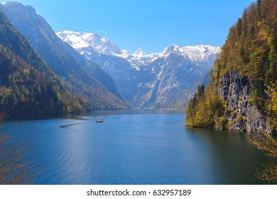 Lake Koenigssee at Schoenau, Berchtesgaden Bavaria Germany on a sunny day with electric ships, panorama