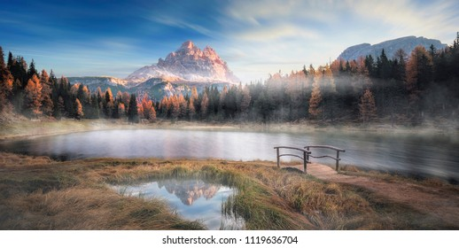 The lake Lago Antorno in italy in the morning