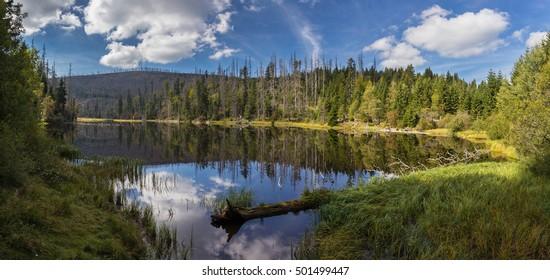 The lake Laka in Sumava mountains.