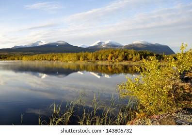 Lake landscape in Abisko national park in north of  Sweden