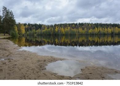 Lake landscape in autumn colors