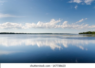 lake landscape with cloud reflections
